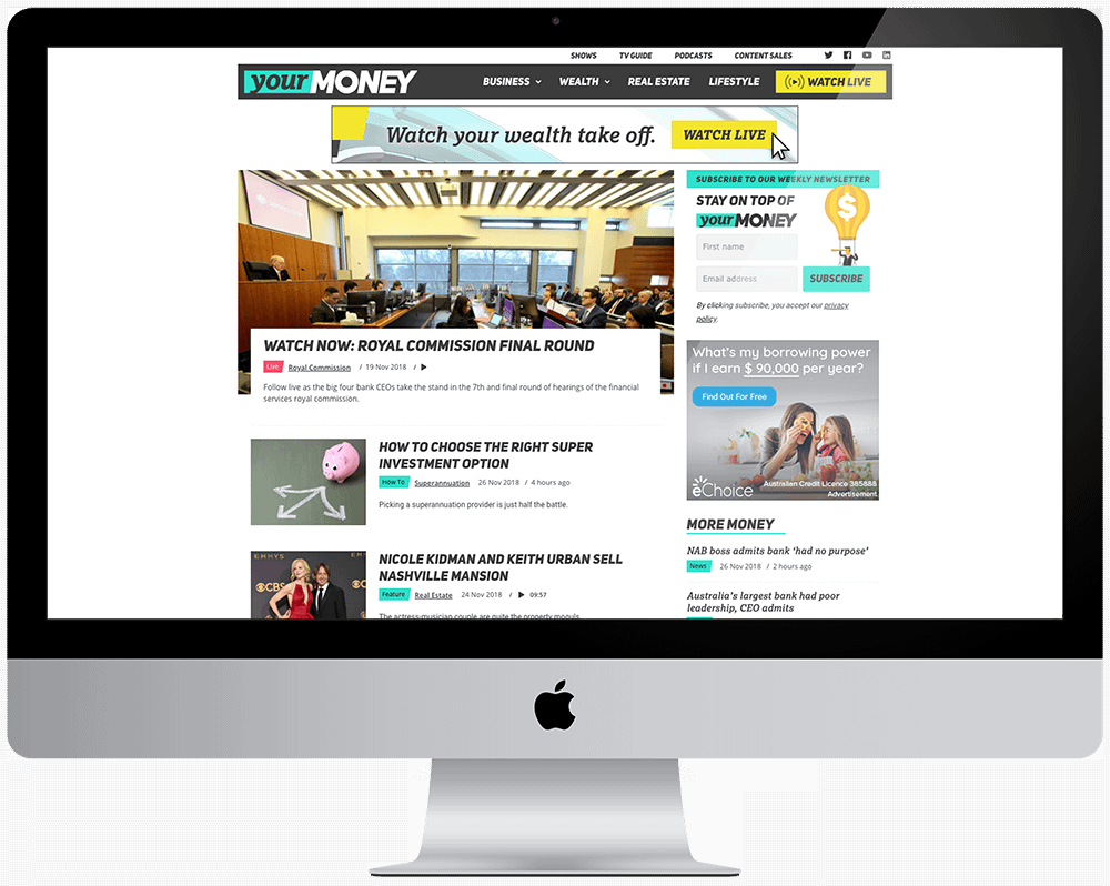 Your Money Website displayed in an iMac