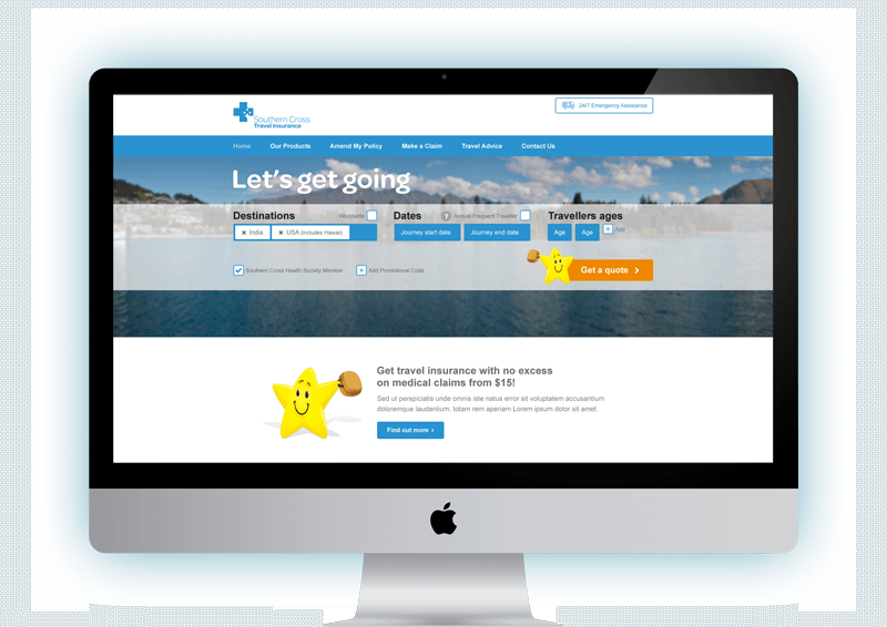 Southern Cross Travel Insurance website displayed in an iMac