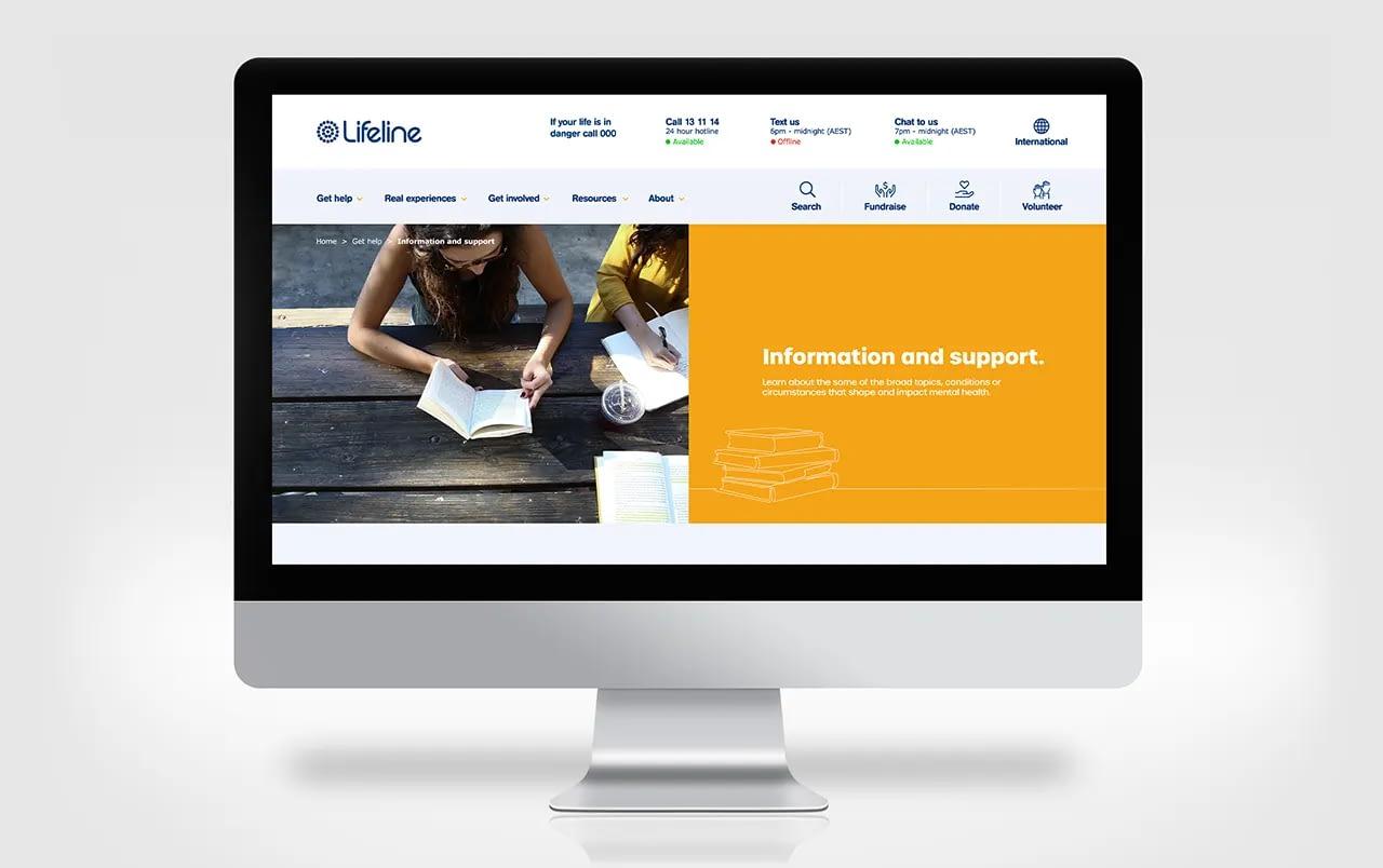 Lifeline Australia website displayed in an iMac